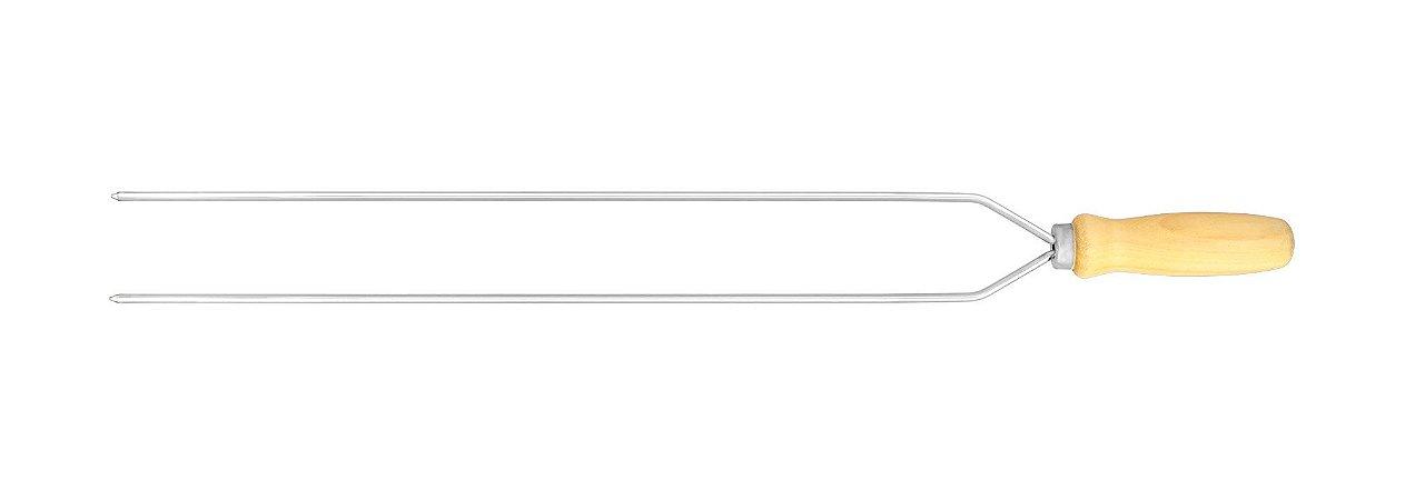 Espeto Duplo Redondo Aço Cromado 062cm x 4,7mm (cabo PR 12cm) -