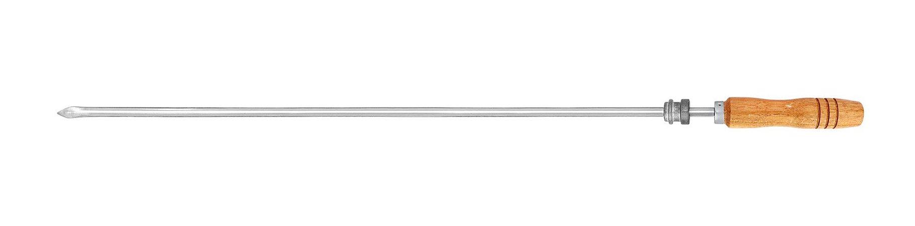 Espeto Inox Coração 085cm x 1,2mm (cabo 15 cm) com Roldana/Parafuso