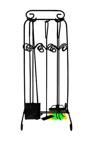 Kit Lareira 05 Acessórios 65cm - Ferro/Preto -