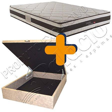 Cama Box Baú + Colchão Herval Molas Ensacadas (Pocket) Solteiro 88x188