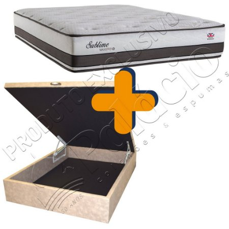 Cama Box Baú + Colchão Herval Molas Maxpring Casal Queen 158x198