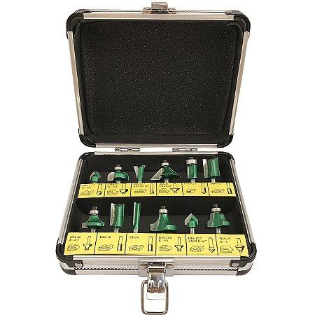 Kit 12 Fresas HW para Tupia Haste 6mm - Indfema
