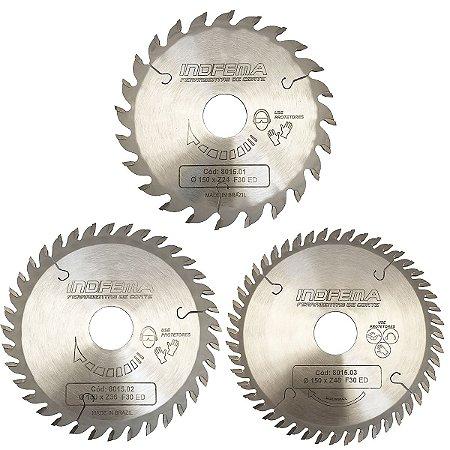 Disco de Serra Circular Indfema HM 150 mm Linha Comercial 8015 - 24/36/48 Dentes