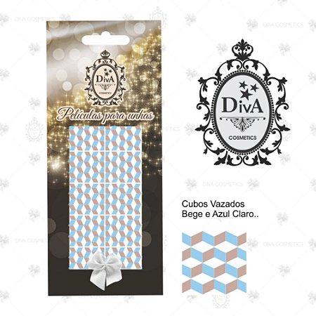Peliculas Diva Graficos Cubos Vazados Bege e Azul Claro