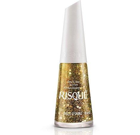 Esmalte Risque Glitter Disco D Ouro