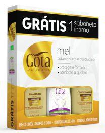 Kit Gota Dourada (SH 340ml + Cond 340ml + Sab Intimo Fresh 100ml) Mel Silvestre
