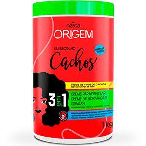 Origem 3 em 1 Creme Hidratante + Cowash + Creme para Pentear Cachos 1kg
