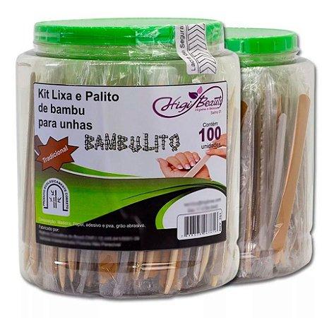 POTE LIXA PARDA / PALITO BAMBU 12,5CM PONTA/CHANFRO C/ 100UN