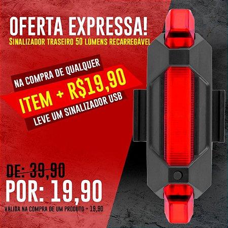OFERTA EXPRESSA - Sinalizador Traseiro 50 Lumens Led Recarregável USB LT-8521