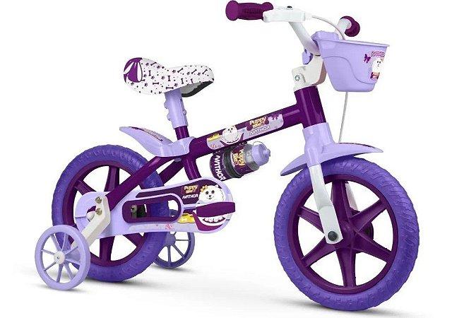 Bicicleta Aro 12 Nathor Puppy Roxo e Lilas