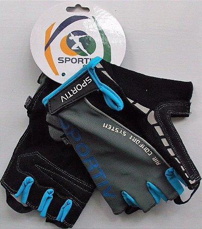 Luva Sportiv Dedo Curto Air Confort Gel Cinza/Azul