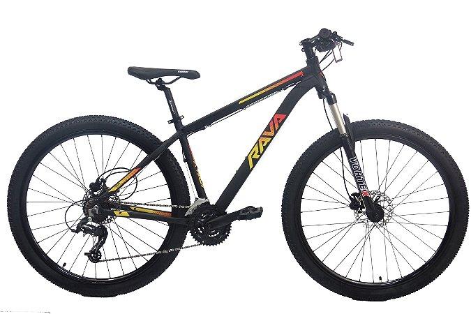 Bicicleta Aro 29 Tsw Rava Pressure 21V Preto/Vermelho/Amarelo Hidraulico 12135