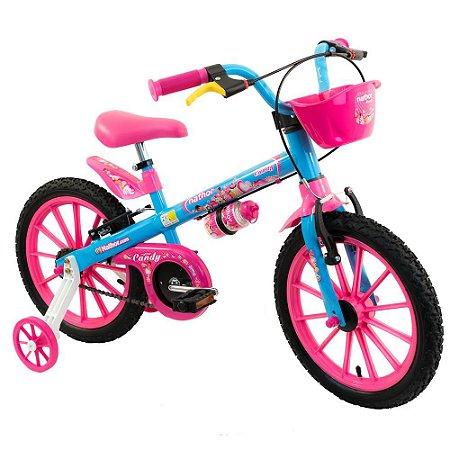Bicicleta Aro 16 Nathor Candy Azul/Rosa