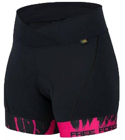 Short Free Force Sport Splash Preto/Pink