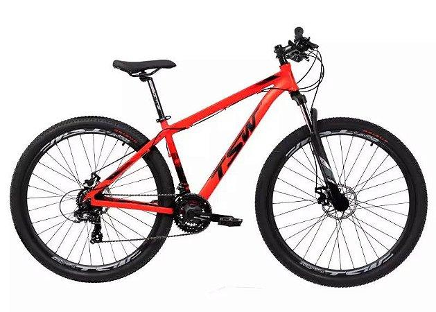 Bicicleta Aro 29 TSW Rava Ride Vermelho Fluor 21V Mecanico