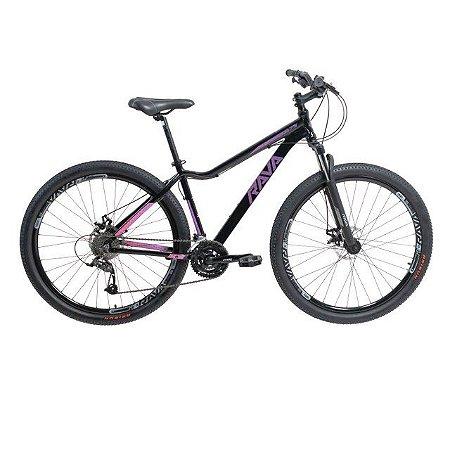 Bicicleta Aro 29 TSW Rava Nina 27V Preto/Rosa/Violeta