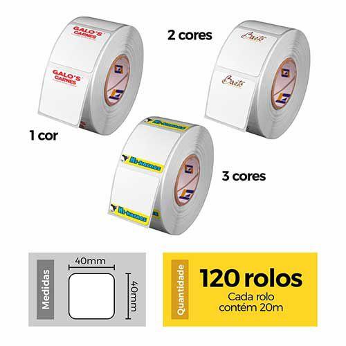 Etiqueta Térmica 40x40 Personalizada - 120 Rolos - Etitec