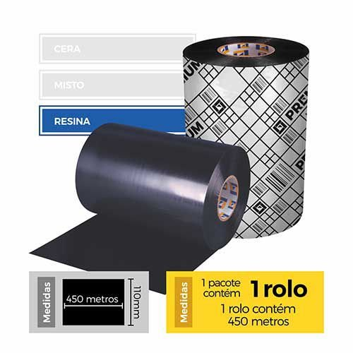 Fita para Impressão (Ribbon) Resina Premium 110x450 - Etitec
