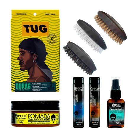 KIT WAVE COLLECTION (1 Durag Wave + 1 Shampoo + 1 Condicionador + 1 Pomada + 1 Óleo finalizador + 1 Escova Hard + 1 Escova Medium + 1 Escova Soft)