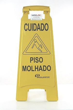 Placa sinalizadora cuidado piso molhado