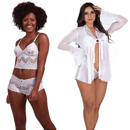 Kit 02 Pçs Robe Feminino com Detalhes em Tule Branco e Conjunto de Calcinha e Sutiã Sem Bojo Branco
