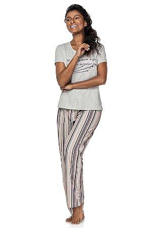 Pijama Feminino com Calça Listrada e Blusa Manga Curta Cinza - 4011