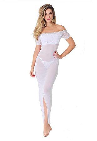 Camisola Rendada Longa Luxo Branca - 2621
