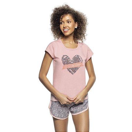 Pijama Blusa e Short Pink Animal Print em Algodão Rosa - 4061