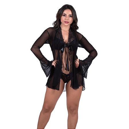 Robe Feminino Sensual em Tule Preto - 4031