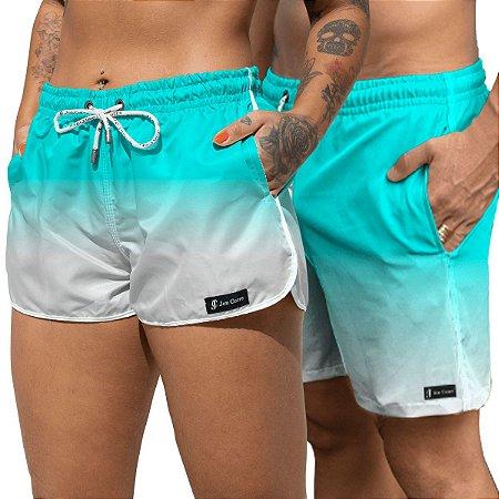 Short Jon Cotre Degrade Aqua Kit casal