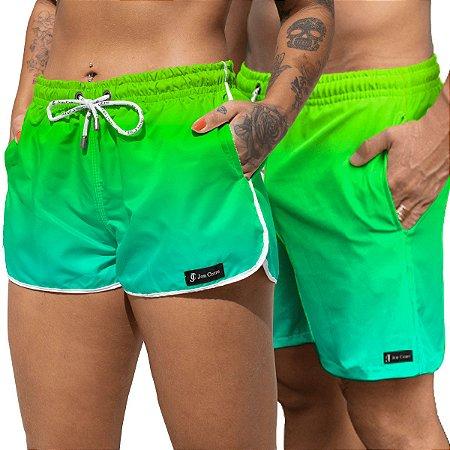 Short Jon Cotre Degrade Verde Neon Kit Casal