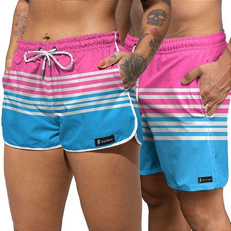 Short Jon Cotre Listrado Rosa e Azul Kit Casal