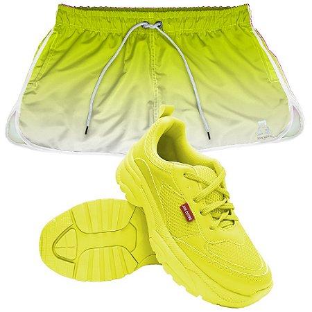 Kit Jon Cotre Short e Tênis Chunky Verde Neon