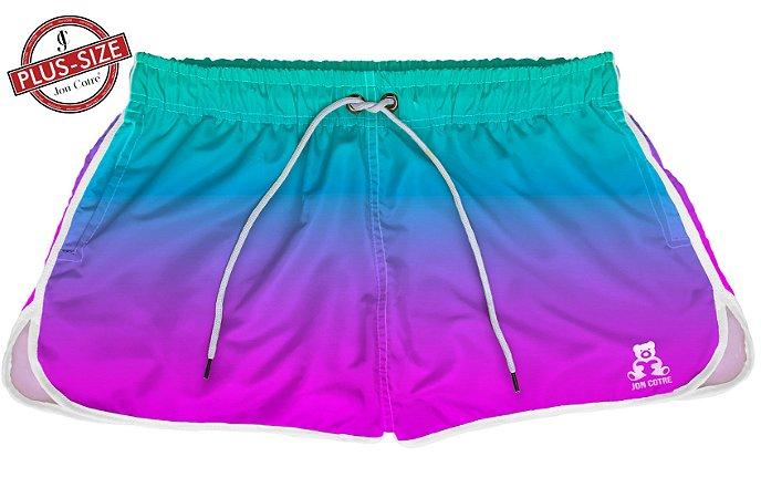 Short Jon Cotre Plus Size Feminino Degrade Azul Roxo
