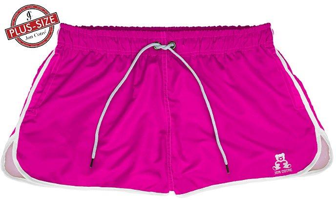 Short Bermuda Jon Cotre Plus Size Feminino Neon Rosa