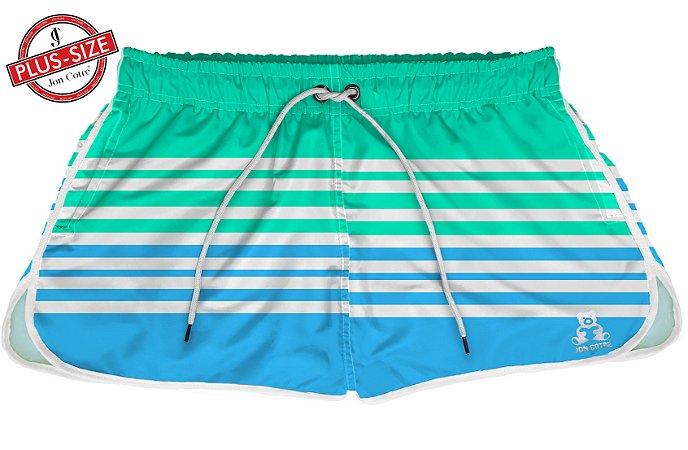 Short Jon Cotre Plus Size Feminino Listrado Azul