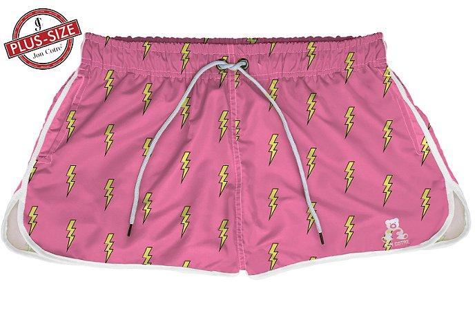 Short Bermuda Jon Cotre Plus Size Feminino Raios Rosa