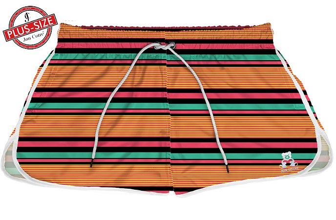 Short Jon Cotre Plus Size Feminino Linhas Vibrantes