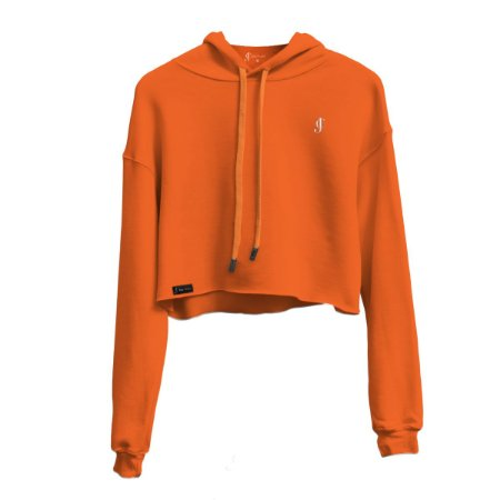 Blusa Moletom Cropped Laranja neon com capuz Jon Cotre Feminino - Infantil