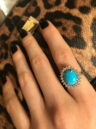 Anel Turquoise Oval com Diamantes