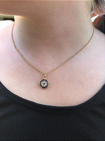 Colar Olho Grego com Safiras e diamantes