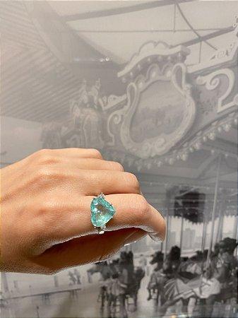 Anel Heart  de Esmeralda com Diamante