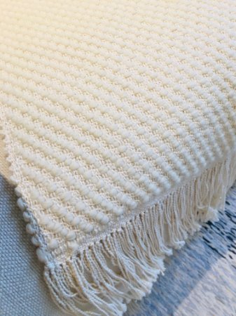 Manta Sirlene - lã de carneiro - crú - 0,60 x 1,65