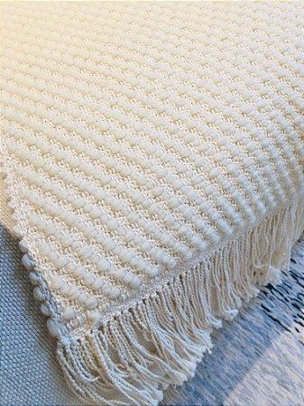 Manta Sirlene - lã de carneiro - crú - 1,30 x 2,20