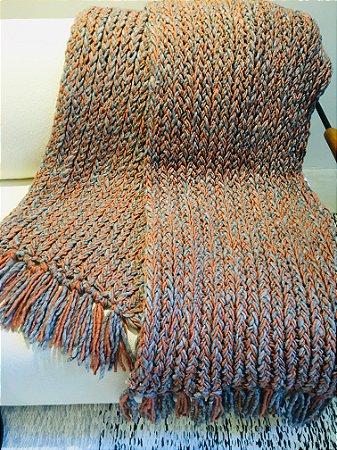 Manta Tear de prego - lã de carneiro - goiaba/cinza - 0,50 x 2,60