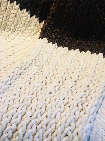 Manta Tear de prego - lã de carneiro - marrom/cru - 0,40 x 2,70