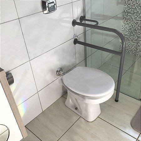 Barra De Apoio Lado Esquerdo Para Banheiro Em Aço Para Idosos - Prata