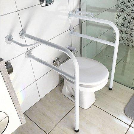 Conjunto De Barra De Apoio Para Banheiro Em Aço Para Idosos - Branco