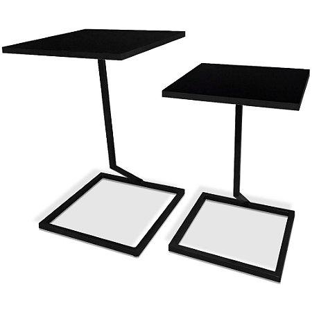Mesa De Canto Dupla Square - Preto/Preto