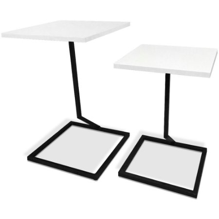 Mesa De Canto Dupla Square - Preto/Branco